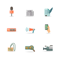 Social media mobile  press center reporter symbols emblems design pictograms collection isolated icons set flat vector illustrat 60016029275| 写真素材・ストックフォト・画像・イラスト素材|アマナイメージズ