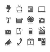 Social media icons set of mobile network computer camera and microphone recorder isolated vector illustration 60016029280| 写真素材・ストックフォト・画像・イラスト素材|アマナイメージズ