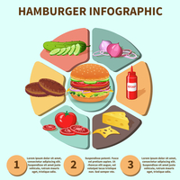 Hamburger sandwich with meat cheese tomato lettuce bun cucumber pie chart infographic vector illustration