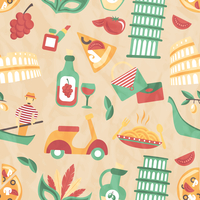 Italy seamless pattern with wine glass gondola olive oil vector illustration
