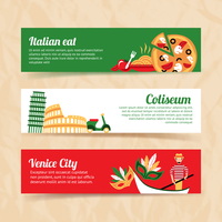 Italy banner set italian eat coliseum venice city isolated vector illustration
