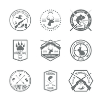 Set of hunting animal wild life leisure labels emblem with letterpress in gray color  vector illustration