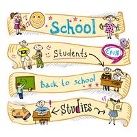 Four  horizontal school kids education earning creative activities wave ribbon banners sketch doodle vector illustration 60016029425| 写真素材・ストックフォト・画像・イラスト素材|アマナイメージズ
