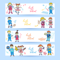 Set of banners with  doodle cute study school education girls and boys in color vector illustration 60016029437| 写真素材・ストックフォト・画像・イラスト素材|アマナイメージズ