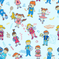 Seamless of carton doodle cute study education back to school kids in color vector illustration 60016029438| 写真素材・ストックフォト・画像・イラスト素材|アマナイメージズ