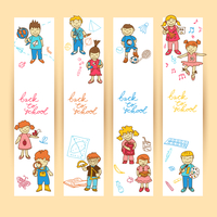 Set of banners with  doodle cute study school education girls and boys in color vector illustration 60016029440| 写真素材・ストックフォト・画像・イラスト素材|アマナイメージズ