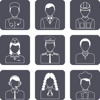 Avatar professions outline icons set of church priest engineer lawyer manager isolated vector illustration 60016029448| 写真素材・ストックフォト・画像・イラスト素材|アマナイメージズ