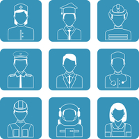 Avatar professions outline icons set of astronaut graduate student manager clerk isolated vector illustration 60016029449| 写真素材・ストックフォト・画像・イラスト素材|アマナイメージズ