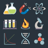 Physics science equipment teaching and studying education icons set isolated vector illustration.