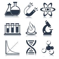 Physics science laboratory equipment black education icons set isolated vector illustration