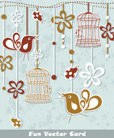 wedding invitation card with a bird cage