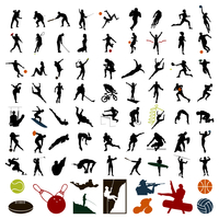 Silhouettes of sportsmen. Silhouettes of sportsmen of black colour. A vector illustration