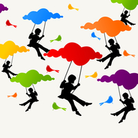 Swing. The girl sits on a swing on clouds. A vector illustration 60016029574| 写真素材・ストックフォト・画像・イラスト素材|アマナイメージズ