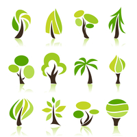 Set of icons of trees. A vector illustration