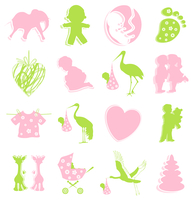 Birth icon2. Set of icons on a children theme. A vector illustration