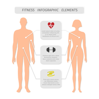 Infographic elements for fitness sports and healthcare achievement measure and report vector illustration