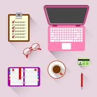 Top view on business workplace with book computer coffee and glasses vector illustration
