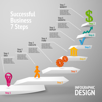 Ascending upward staircase uccessful business seven steps concept infographic vector illustration
