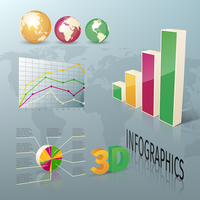 Abstract 3d business infographics design elements charts and graphs vector illustration
