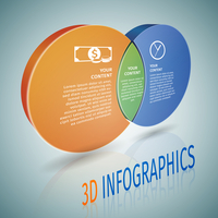 Abstract 3d circle business infographics design element with header title and data labels vector illustration