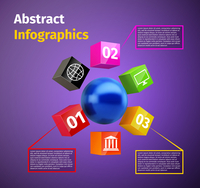 Cubes and spheres business infographics template with data labels and options vector illustration