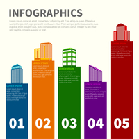 Business modern urban office and private buildings infographics set vector illustration