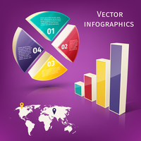 Abstract 3d pie chart columns and map business infographics layout template vector illustration