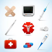 Realistic medical emergency services icons set with capsule sticking plaster scalpel isolated vector illustration.