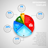 Colored abstract 3d pie chart with percent labels real estate infographic template vector illustration.