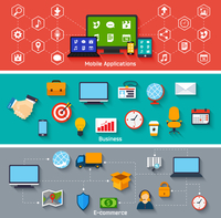 Mobile applications business and e-commerce concepts icons set vector illustration