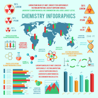Chemistry business infographic presentation design template diagrams with scientific icons vector illustration