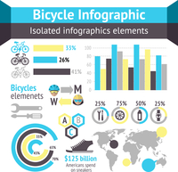 Bicycle sport fitness infographic elements with charts and diagrams vector illustration