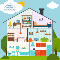 House interiors background with living rooms kitchen bathroom vector illustration