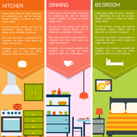 House interiors banners with kitchen dining bedroom isolated vector illustration