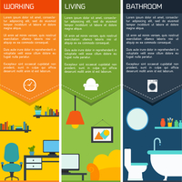 House interiors banners with working living room bathroom isolated vector illustration