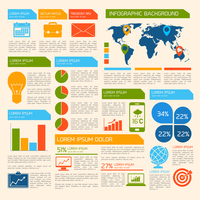 Business infographic elements set with world map charts and office work items vector illustration