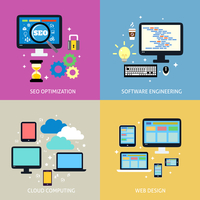 Business process concept of seo optimization programming cloud computing mobile and website design icons set vector illustration