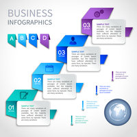 Origami infographics business template with globe and ribbon elements vector illustration 60016029824| 写真素材・ストックフォト・画像・イラスト素材|アマナイメージズ