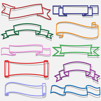 Set of banners and ribbons from paper outline.Vector eps 10