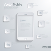 Mobile Smartphone with icon interface.  Infographics vector template.