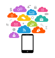 Illustration smart device with cloud of application icons, business infographics elements - vector 60016033259| 写真素材・ストックフォト・画像・イラスト素材|アマナイメージズ