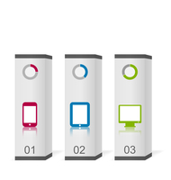 Illustration set boxes with simple gadgets infographic icons - vector