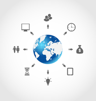 Illustration global internet communication, set business pictograms - vector