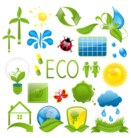 Illustration set of green ecology icons (3) - vector