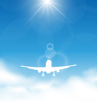 Illustration blue sky and clouds with flying airplane - vector 60016033286| 写真素材・ストックフォト・画像・イラスト素材|アマナイメージズ