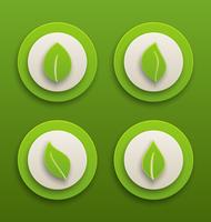 Illustration set label with different green leaves - vector 60016033310  写真素材・ストックフォト・画像・イラスト素材 アマナイメージズ