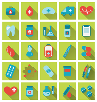 Illustration collection trendy flat medical icons with long shadow - vector 60016033316| 写真素材・ストックフォト・画像・イラスト素材|アマナイメージズ