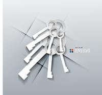 Vector 3d paper keys modern design 60016033754| 写真素材・ストックフォト・画像・イラスト素材|アマナイメージズ