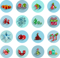 Christmas flat vector icon set. Can be used as banners, infographics, business template 60016034259| 写真素材・ストックフォト・画像・イラスト素材|アマナイメージズ