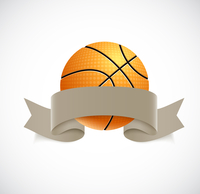 Basketball with brown ribbon